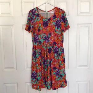 LuLaRoe orange short sleeved floral Amelia 2XL NWOT